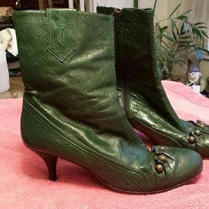 Miss Sixty Green Leather Ankle Boots
